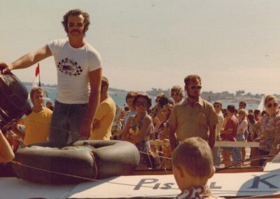 1974.0616 Kevin JAQUES on boat 1st Beer Can Regatta