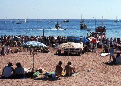 On the beach at Mindil watching the beer can regatta.1985