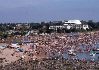 On the beach at Mindil. Crowd watching the beer can regatta 1985