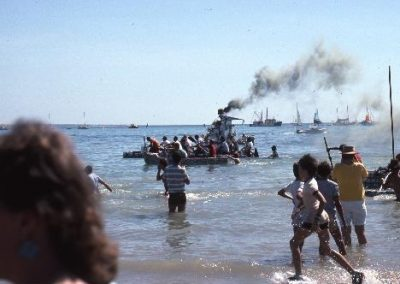On the beach at Mindil watching the beer can regatta 1985